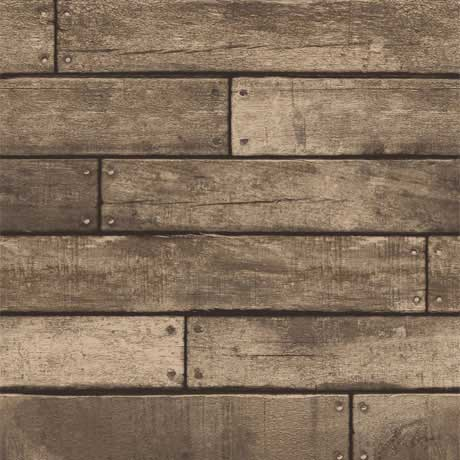 Fine Decor Distinctive Brown Wooden Plank Wallpaper