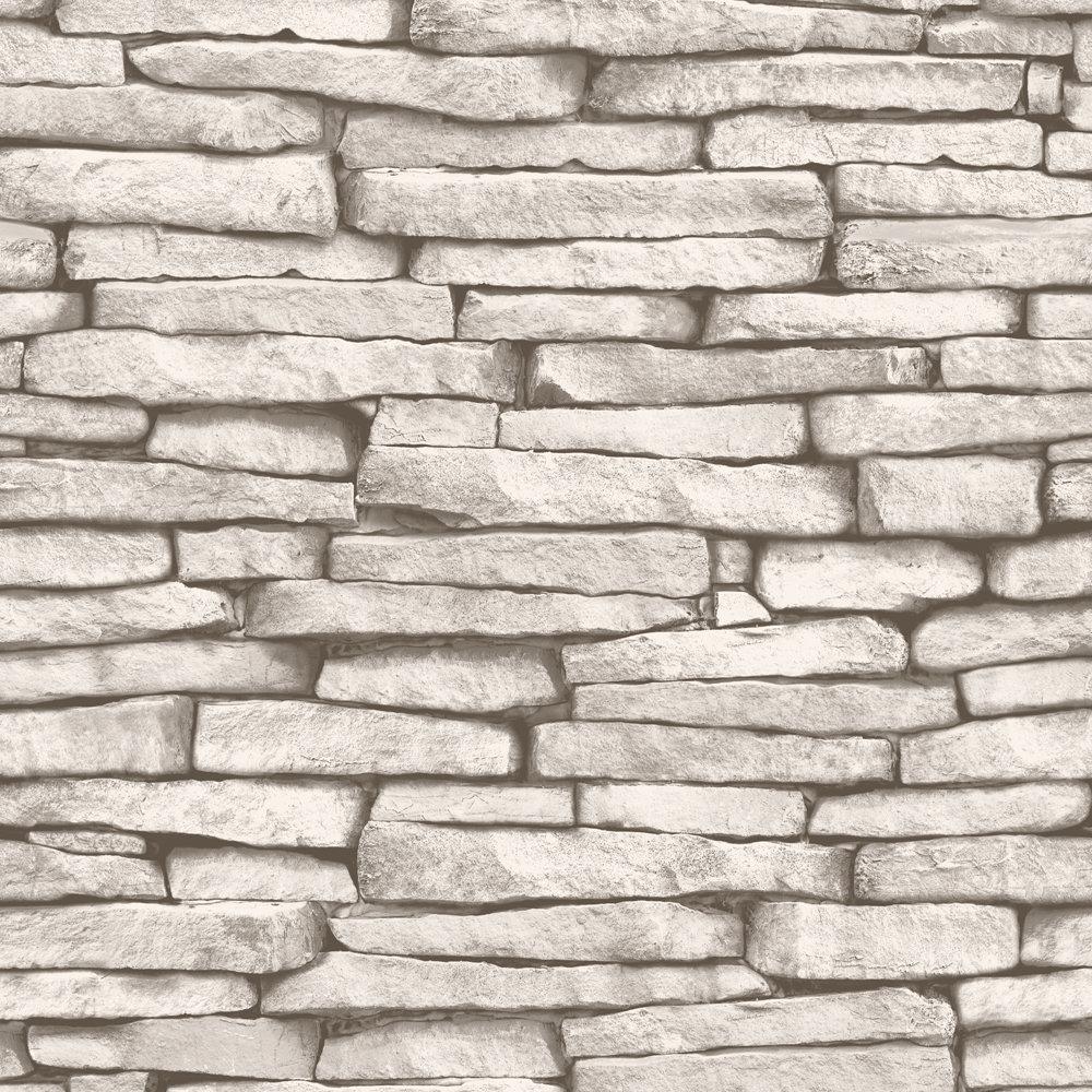 Fine Decor Distinctive Cream Slate Wallpaper Large Image