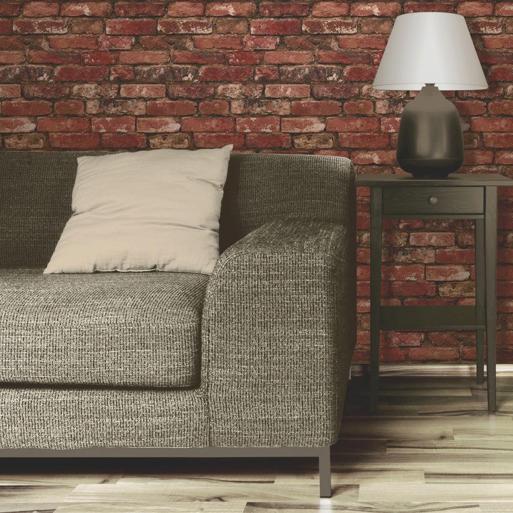 Fine Decor Distinctive Red Rustic Brick Wallpaper profile large image view 2