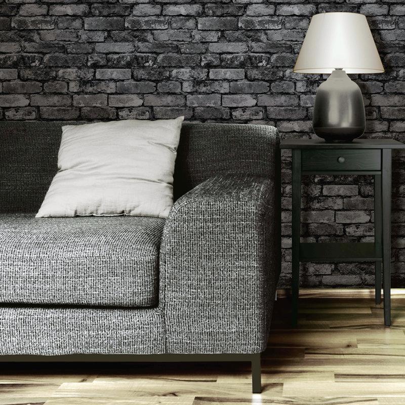 Fine Decor Distinctive Silver Rustic Brick Wallpaper profile large image view 2