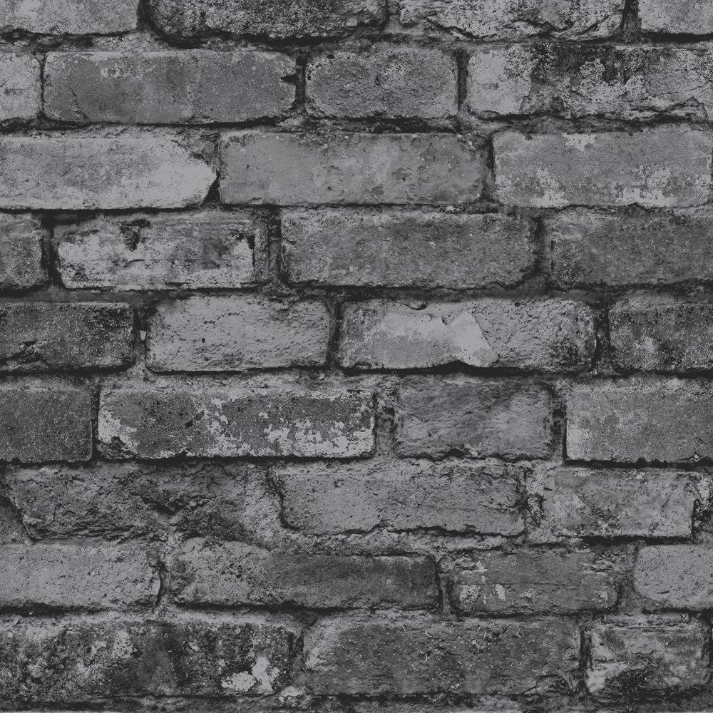 Fine Decor Distinctive Silver Rustic Brick Wallpaper Large Image