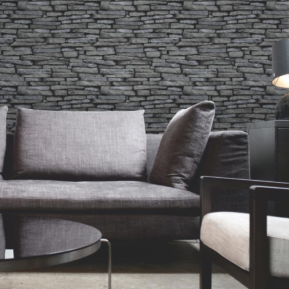 Fine Decor Distinctive Silver Slate Wallpaper Profile Large Image