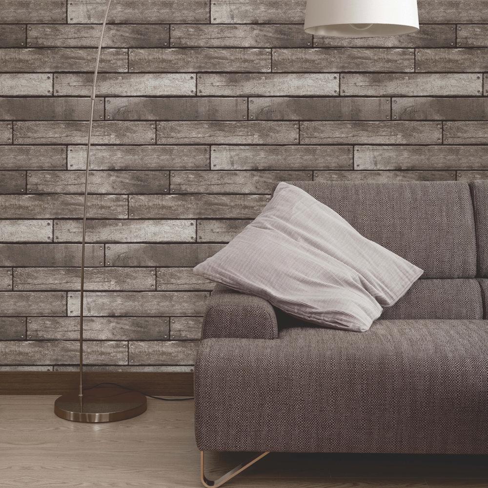 Fine Decor Distinctive Grey Wooden Plank Wallpaper Profile Large Image