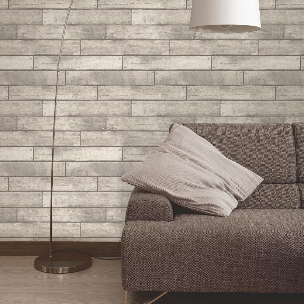 Fine Decor Distinctive White Wooden Plank Wallpaper Profile Large Image