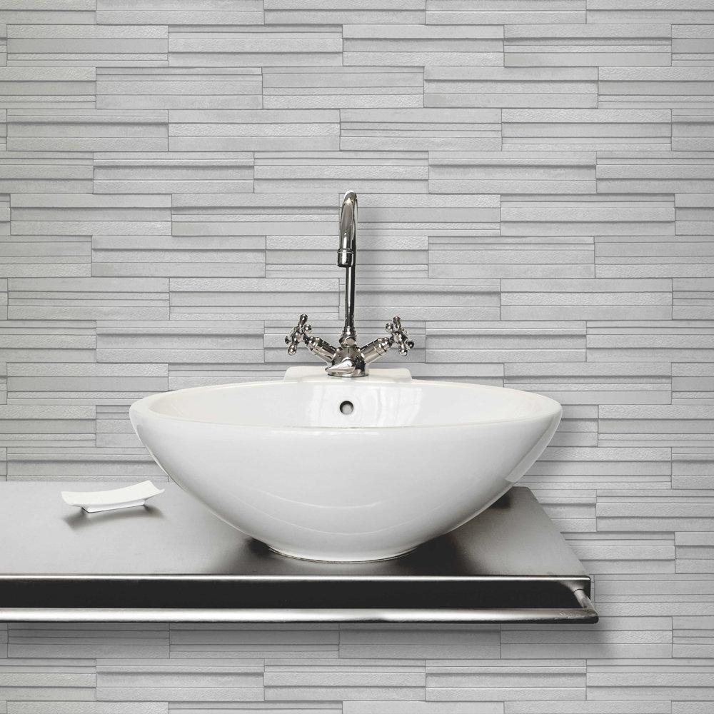 Fine Decor Light Grey Ceramica Slate Tile Wallpaper Profile Large Image