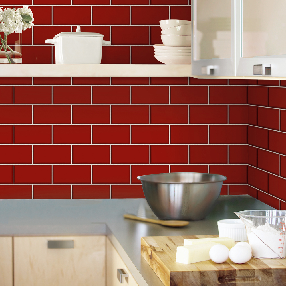 Fine Decor Red Ceramica Subway Tile Wallpaper profile large image view 2