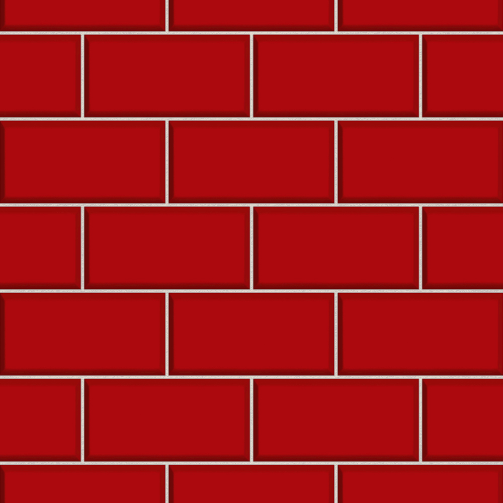 Fine Decor Red Ceramica Subway Tile Wallpaper Large Image