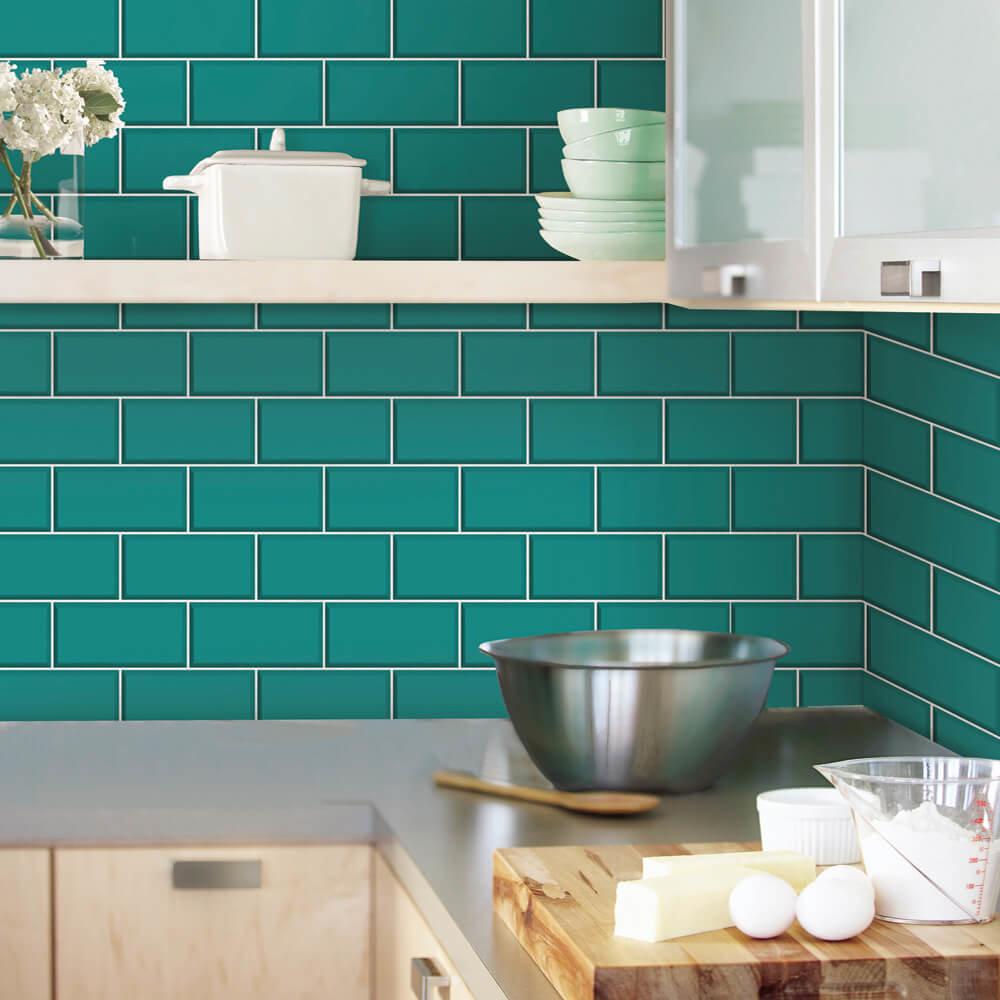 Fine Decor Teal Ceramica Subway Tile Wallpaper - FD40139 | 17 Stylish Bathroom Wallpaper Ideas