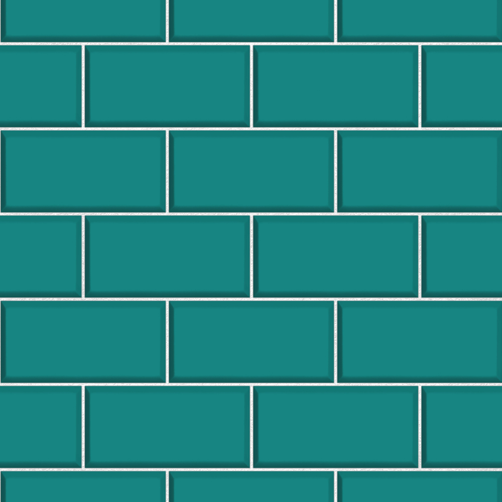 Fine Decor Teal Ceramica Subway Tile Wallpaper Victorian