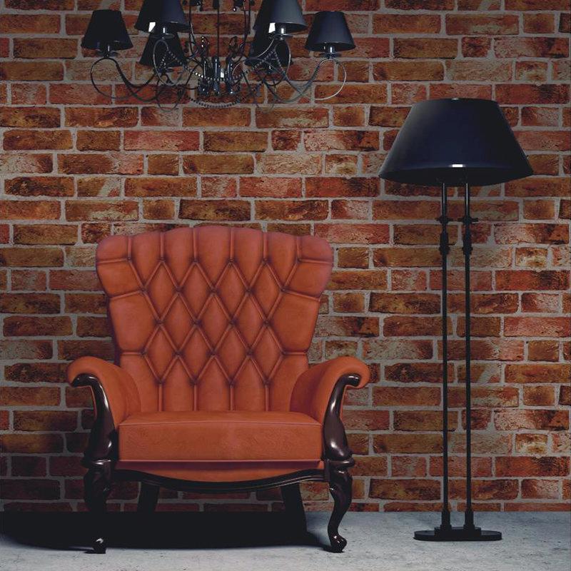 Fine Decor Distinctive Orange Brick Wallpaper profile large image view 2
