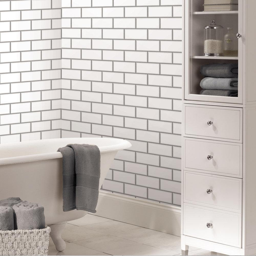 Fine decor white ceramica subway tile wallpaper for White tile wallpaper