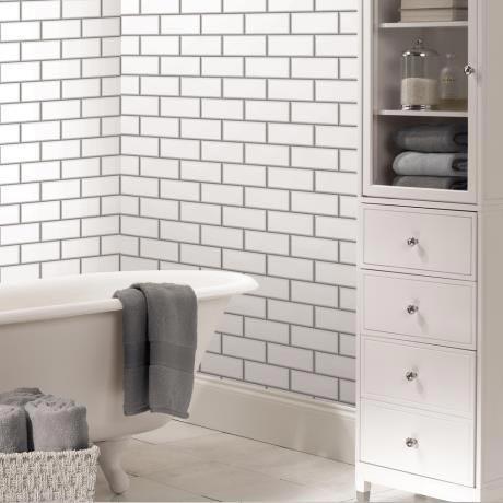Fine Decor White Ceramica Subway Tile Wallpaper - FD40136 | 17 Stylish Bathroom Wallpaper Ideas