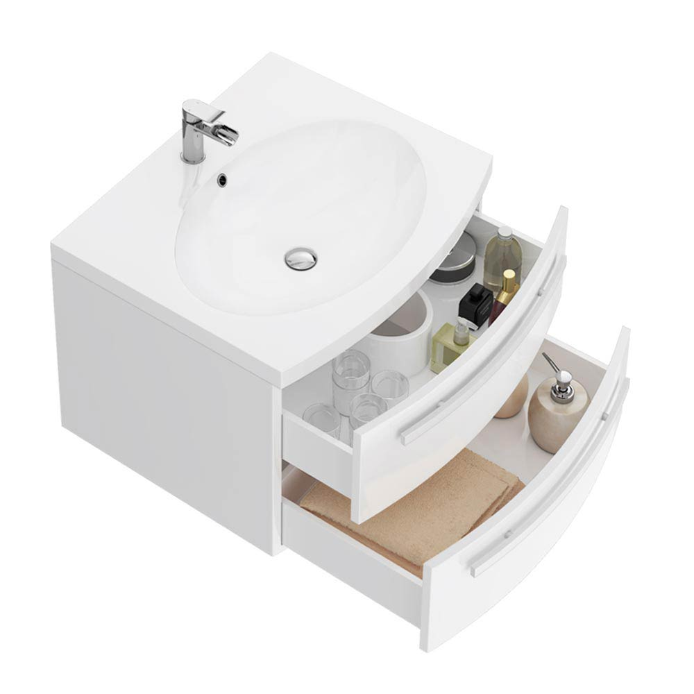 Flare White Gloss Curved Wall Hung Vanity Unit - 620mm Wide  Feature Large Image