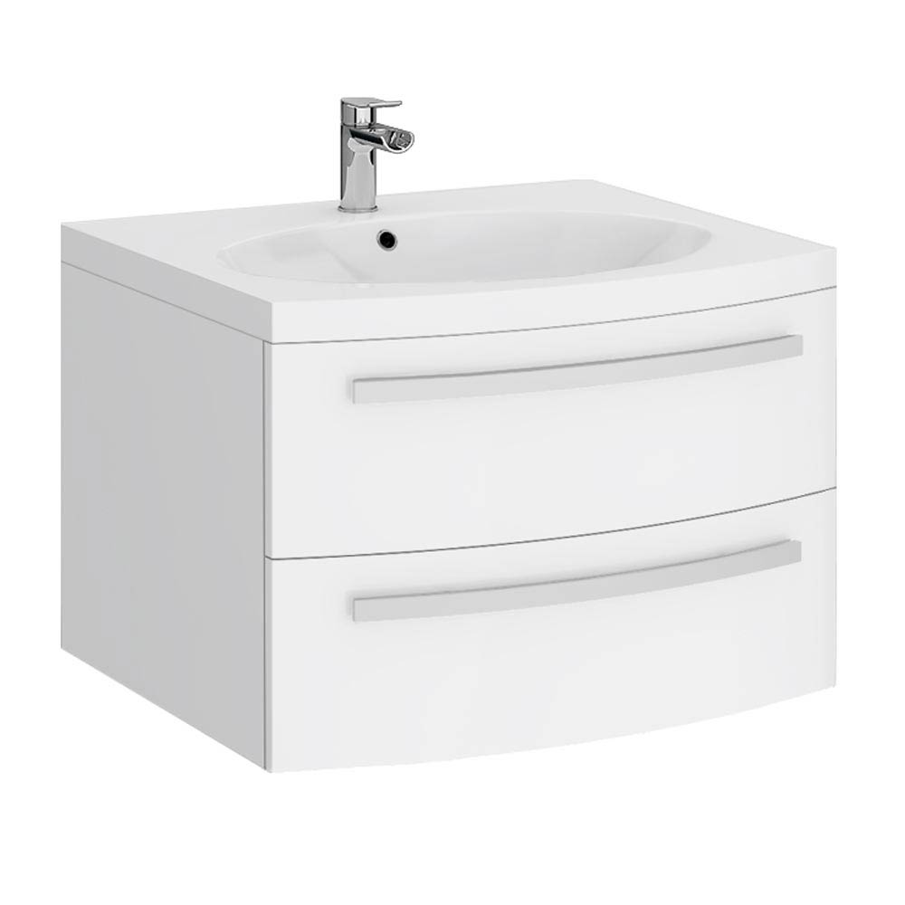 Flare White Gloss Curved Wall Hung Vanity Unit - 620mm Wide Large Image