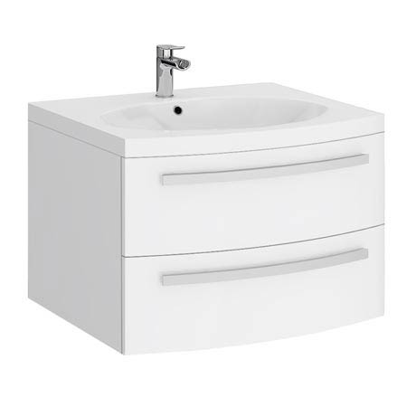 Flare White Gloss Curved Wall Hung Vanity Unit - 620mm Wide