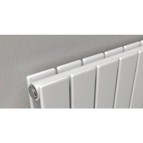 Reina Flat Horizontal Double Panel Designer Radiator - White Feature Large Image