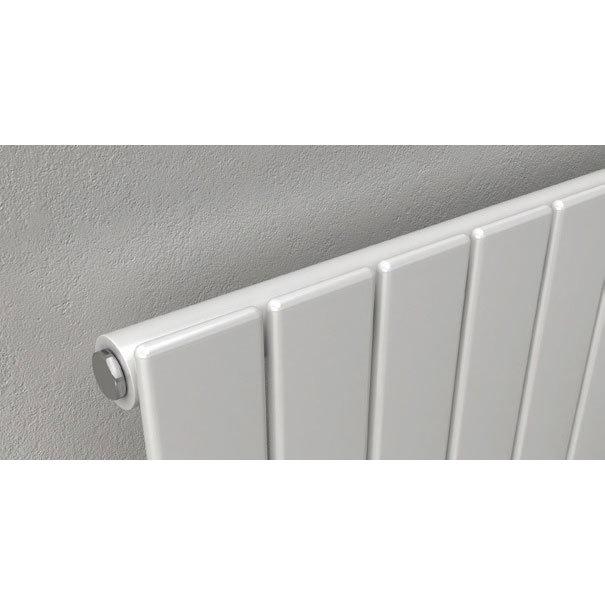 Reina Flat Horizontal Single Panel Designer Radiator - White profile large image view 2