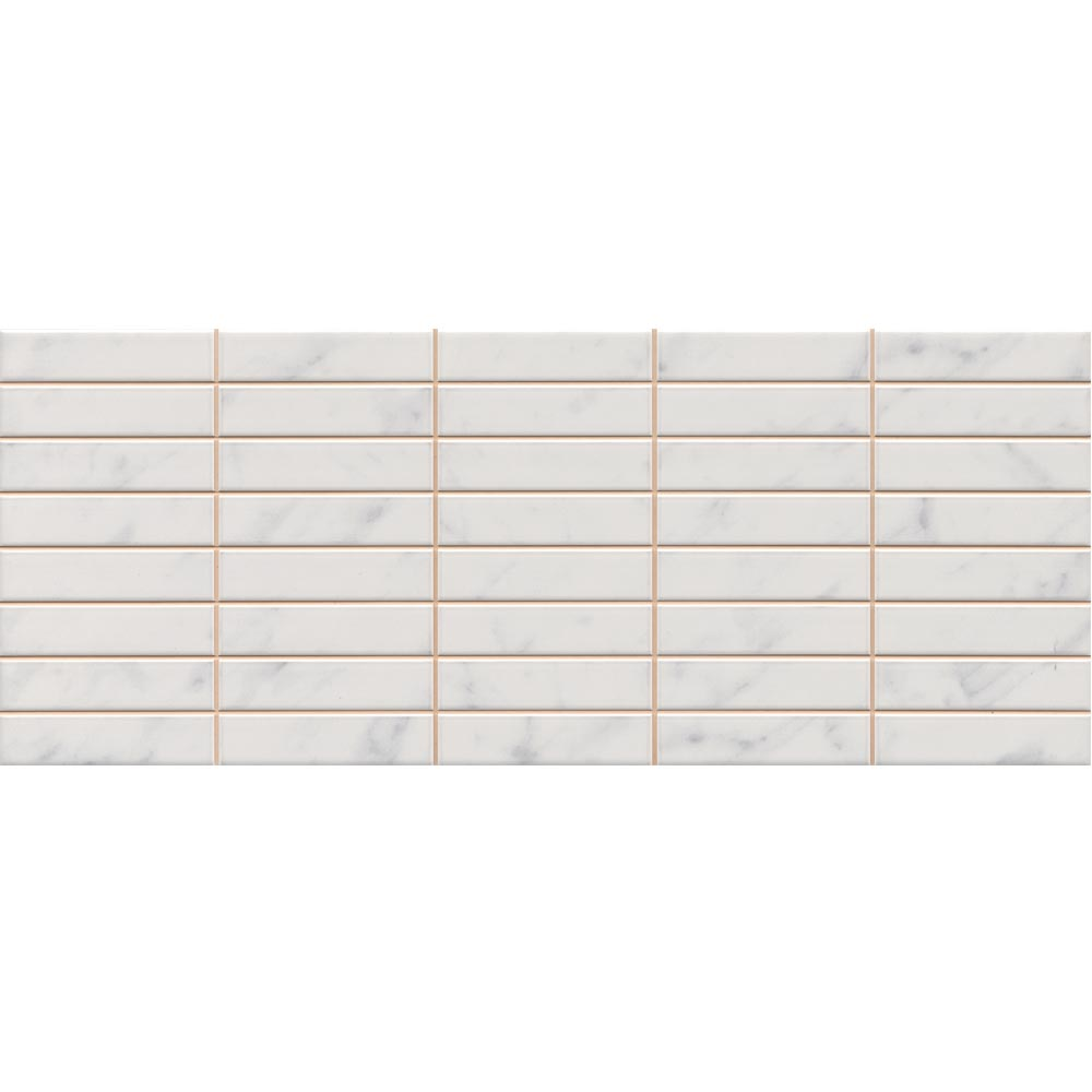 Florence Marbled White Mosaic Wall Tile (Gloss - 200 x 500mm) Large Image