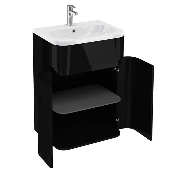 Aqua Cabinets - W600 x D450mm Gullwing Cabinet with Quattrocast Basin - Black profile large image view 2