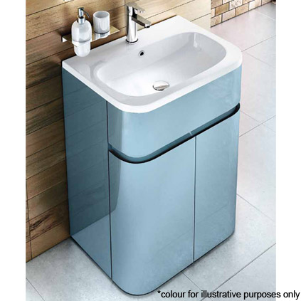Aqua Cabinets - W600 x D450mm Gullwing Cabinet with Quattrocast Basin - Black profile large image view 4