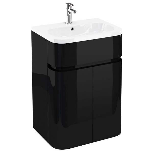 Aqua Cabinets - W600 x D450mm Gullwing Cabinet with Quattrocast Basin - Black profile large image view 1