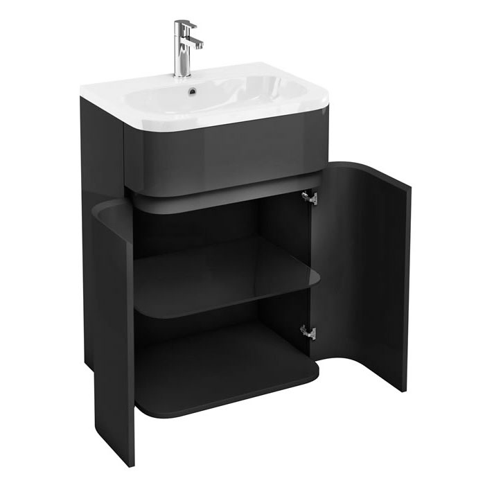 Aqua Cabinets - W600 x D450mm Gullwing Cabinet with Quattrocast Basin - Anthracite Grey profile large image view 2