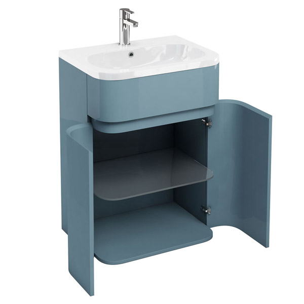 Aqua Cabinets - W600 x D450mm Gullwing Cabinet with Quattrocast Basin - Ocean profile large image view 2