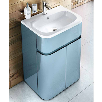 Aqua Cabinets - W600 x D450mm Gullwing Cabinet with Quattrocast Basin - Ocean profile large image view 4