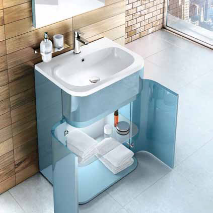 Aqua Cabinets - W600 x D450mm Gullwing Cabinet with Quattrocast Basin - Ocean profile large image view 5