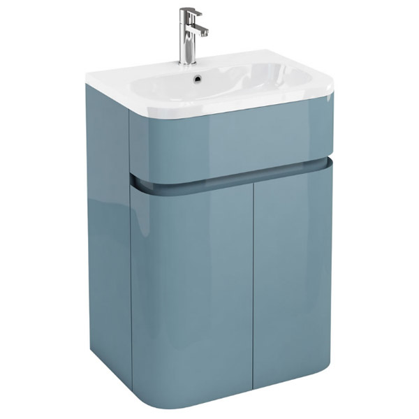 Aqua Cabinets - W600 x D450mm Gullwing Cabinet with Quattrocast Basin - Ocean Large Image