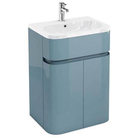 Aqua Cabinets - W600 x D450mm Gullwing Cabinet with Quattrocast Basin - Ocean