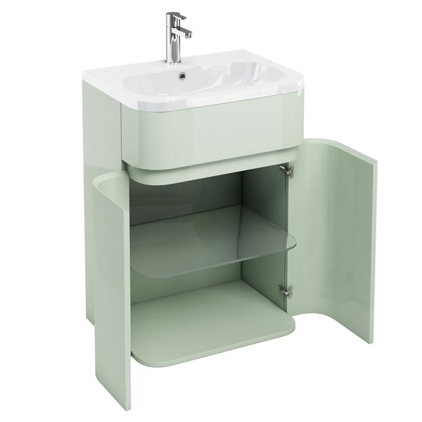 Aqua Cabinets - W600 x D450mm Gullwing Cabinet with Quattrocast Basin - Reef Profile Large Image