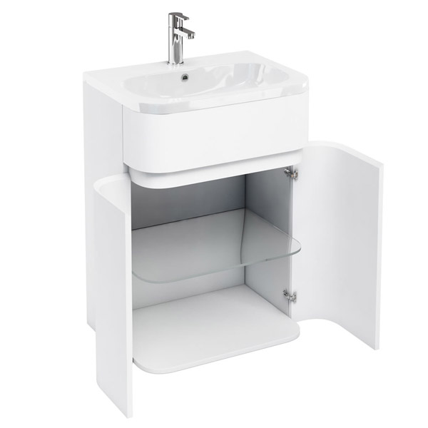 Aqua Cabinets - W600 x D450mm Gullwing Cabinet with Quattrocast Basin - White profile large image view 2