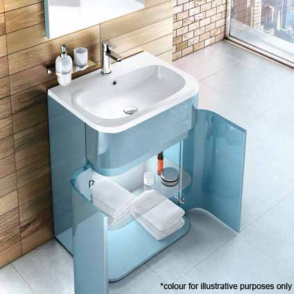 Aqua Cabinets - W600 x D450mm Gullwing Cabinet with Quattrocast Basin - White profile large image view 5