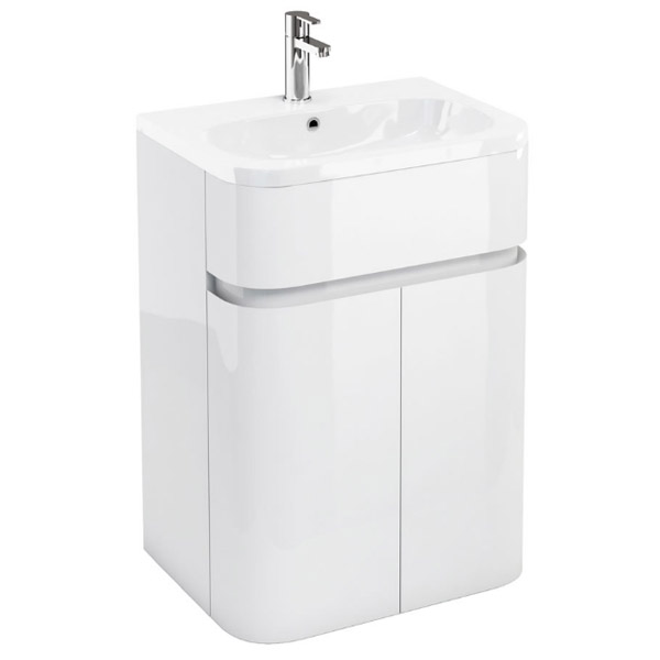 Aqua Cabinets - W600 x D450mm Gullwing Cabinet with Quattrocast Basin - White Large Image