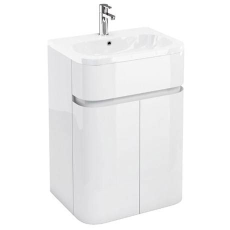Aqua Cabinets - W600 x D450mm Gullwing Cabinet with Quattrocast Basin - White