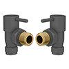 Modern Grey Angled Radiator Valves (Pair) profile small image view 1