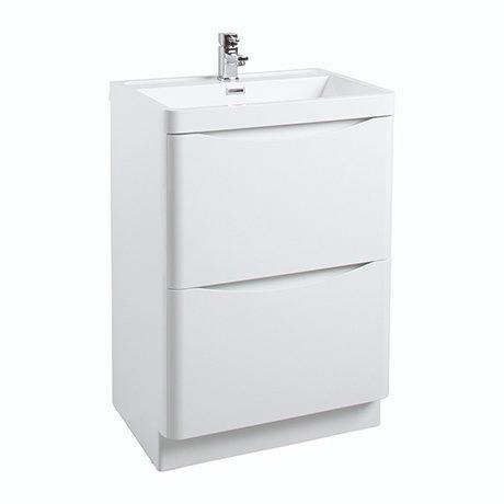 Bali White Gloss 600mm Floor Standing 2-Drawers Cabinet + Basin