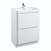 Bali White Gloss 600mm Floor Standing 2-Drawers Cabinet + Basin profile small image view 1