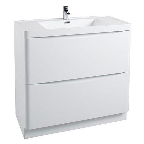 Bali White Gloss 900mm Floor Standing 2-Drawers Cabinet + Basin