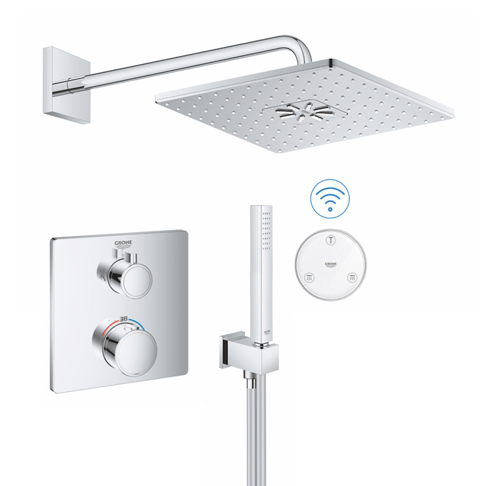 Grohe Grohtherm SmartConnect Square Head & Handset Shower Set