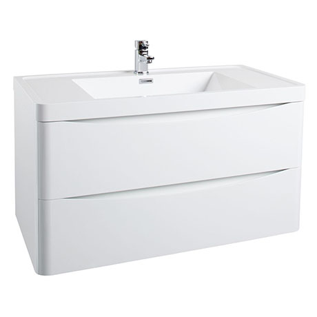 Bali White Gloss 900mm Wall Mounted 2-Drawers Cabinet + Basin