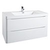Bali White Gloss 900mm Wall Mounted 2-Drawers Cabinet + Basin profile small image view 1