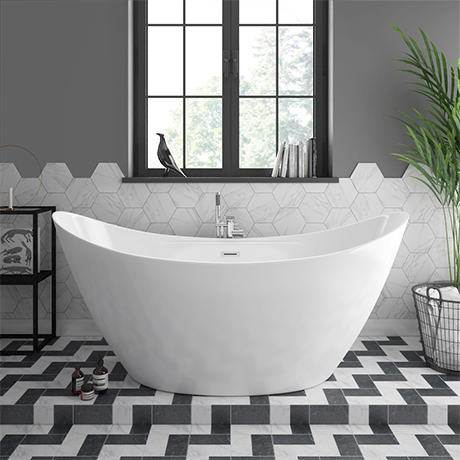 Flare 1720 x 760mm Modern Double Ended Freestanding Bath