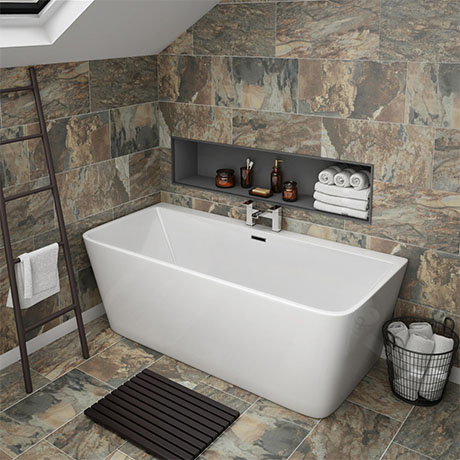 Orion 1500 x 750mm Small Back To Wall Modern Square Bath