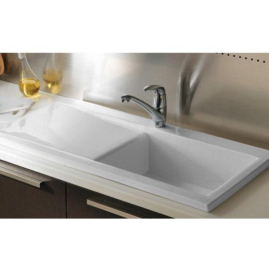 RAK Gourmet Dream Sink 2 Single Large Bowl Left Hand Drainer White W W