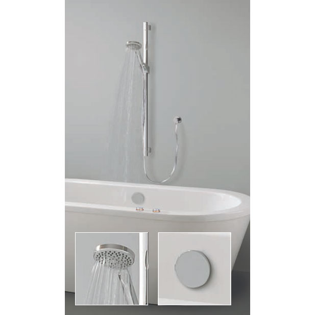 Crosswater Digital Ghost Duo Bath with Bath Filler Waste and Slide Rail Shower Kit Large Image