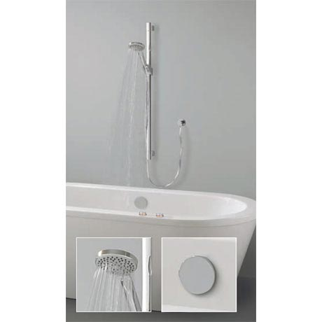 Crosswater Digital Ghost Duo Bath with Bath Filler Waste and Slide Rail Shower Kit