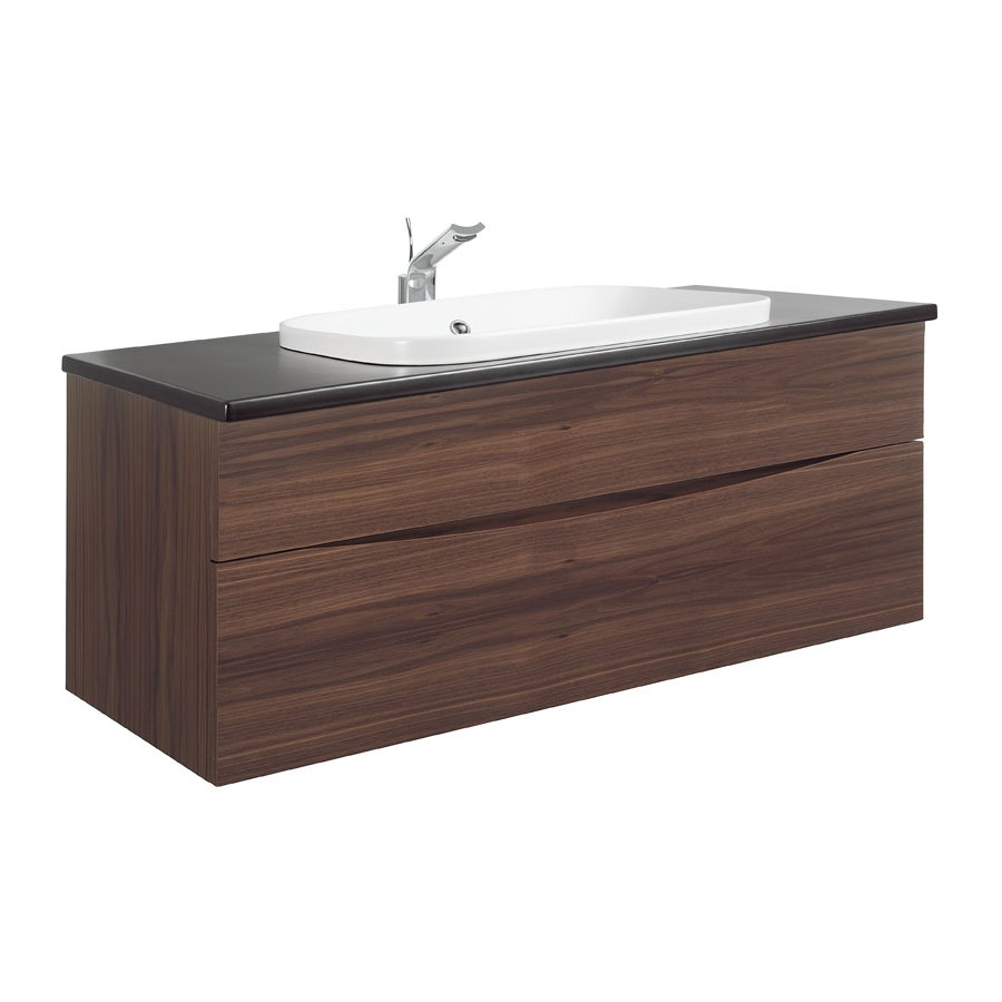 Bauhaus - Glide II 100 Unit with Plus+Ton Ceramic Worktop & White Basin - American Walnut Large Image