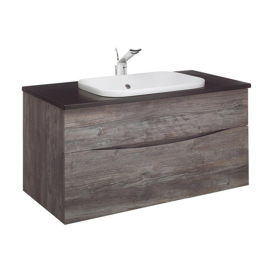 Bauhaus - Glide II 100 Unit with Plus+Ton Ceramic Worktop & White Basin - Driftwood Large Image